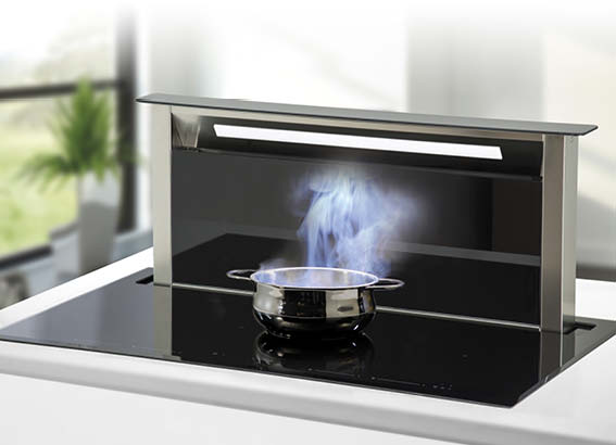 Induction Cooktop with Downdraft Rangehood