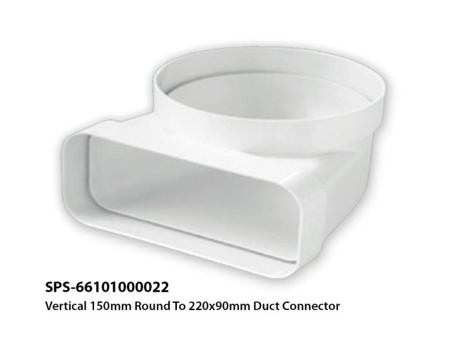 SPS-66101000022 Vertical 150mm Round to 220x90cm Duct Connector